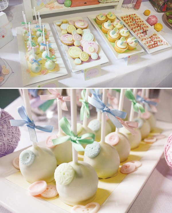 cute as a button vintage sewing party cake pops