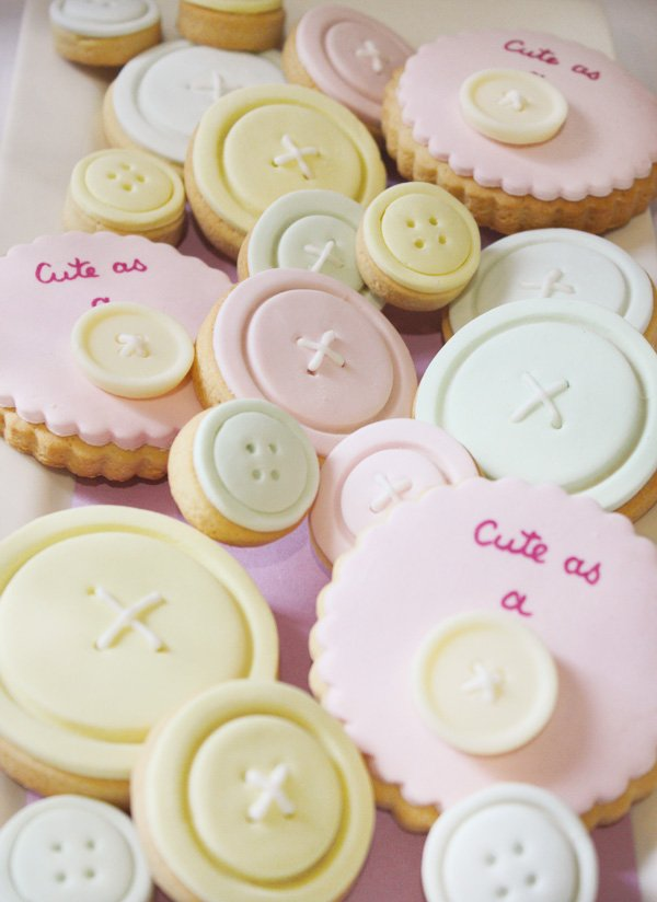 cute as a button vintage sewing party with pastel button decorated cookies