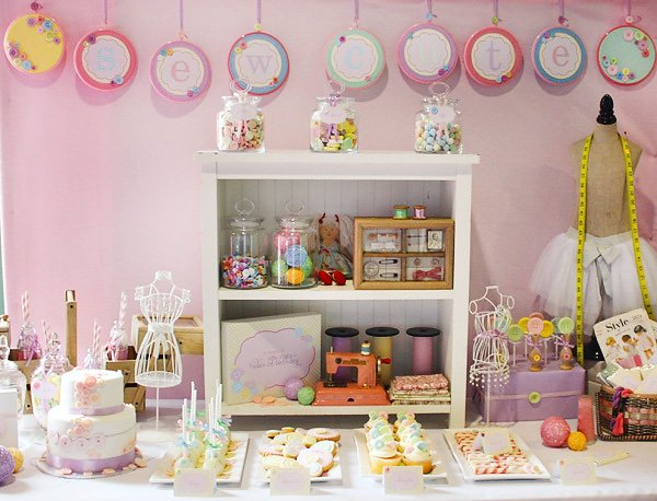 cute as a button vintage sewing party dessert table