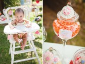 whimsical vintage first birthday party highchair