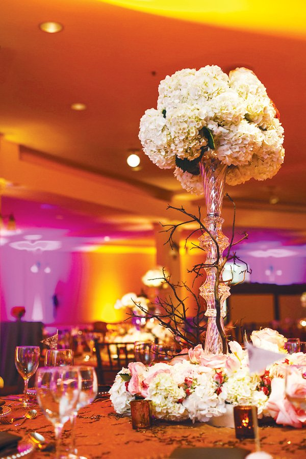 white glass centerpiece and table decoration