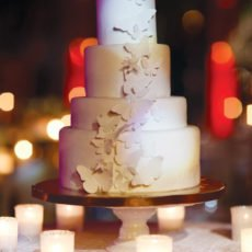 elegant white wedding cake with butterflies