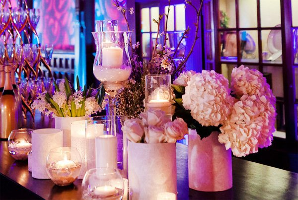 elegant white wedding floral bar