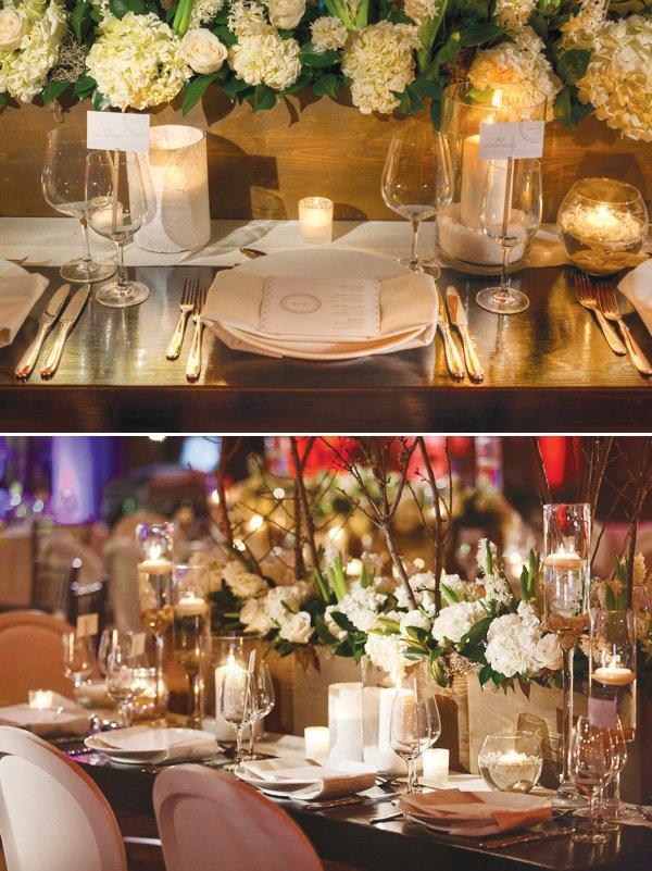 white wedding place setting