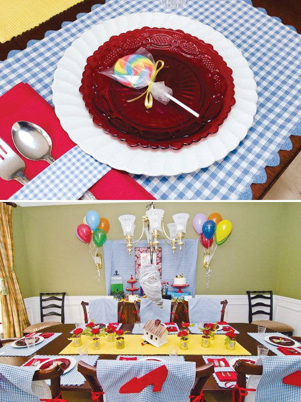 wizard of oz party place settings and kids birthday table