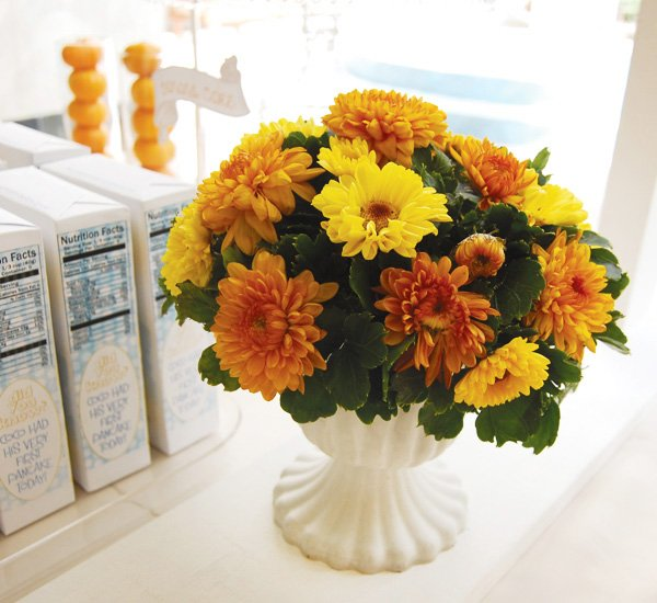 yellow flower centerpiece