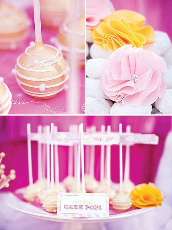 yellow and white cake pops with edible pearls