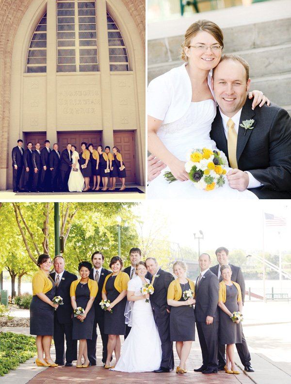 modern gray and yellow wedding
