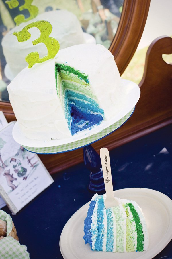 green and blue ombre cake for a storybook birthday party