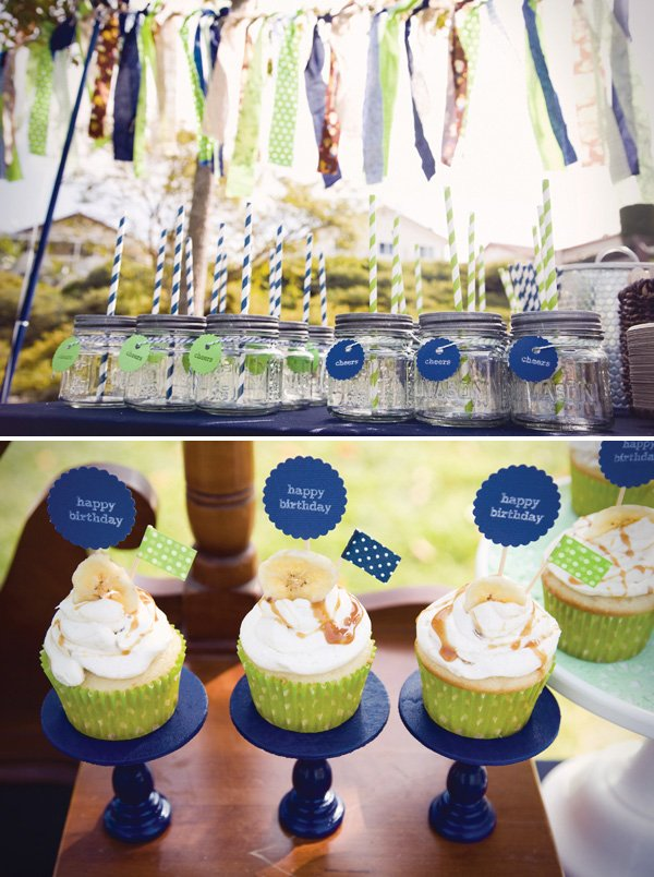 Mason jars and cupcakes on mini cupcake stands