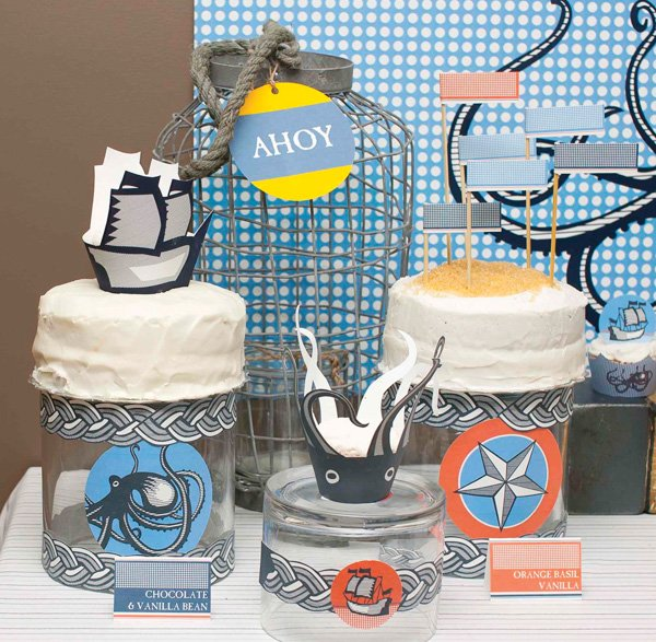 Nautical themed cake display