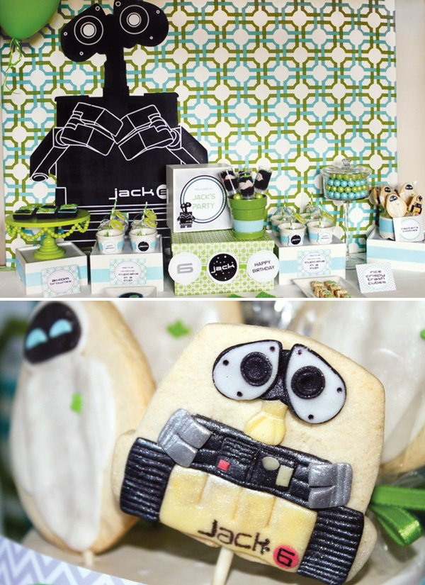 wall-e birthday party dessert table