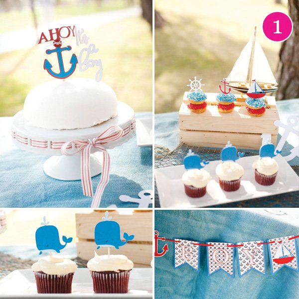 ahoy whale cupcake toppers