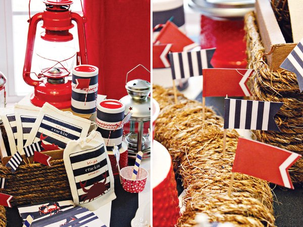 americana nautical low country boil crab party rope and flag decorations