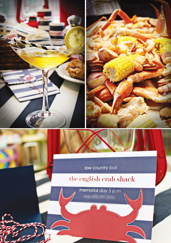 americana nautical low country boil crab party invitation