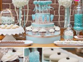 aqua and damask dessert table