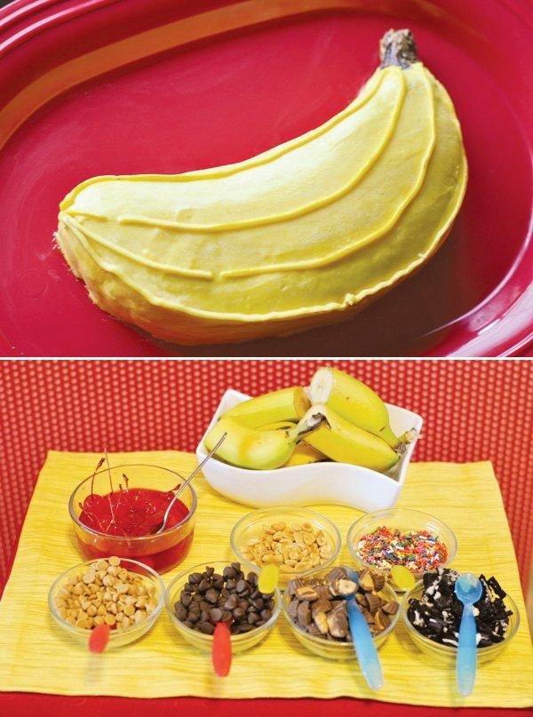 banana smash cake and banana split bar