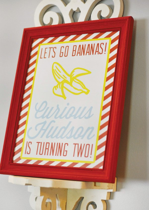 red and yellow curious george inspired birthday poster