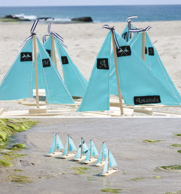 beach glam birthday with tiffany blue embroidered sail boats