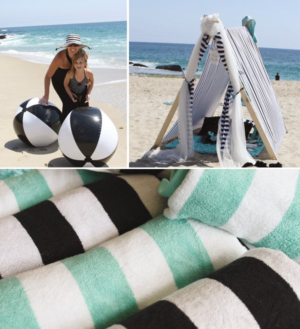 beach party in black and tiffany blue