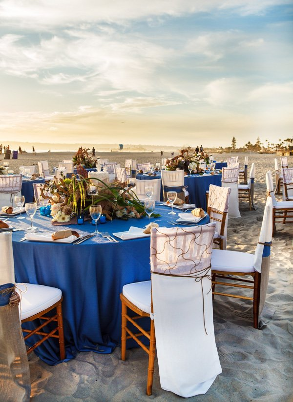 beach wedding reception at sunset