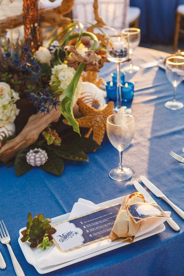beachy california coastal wedding menu