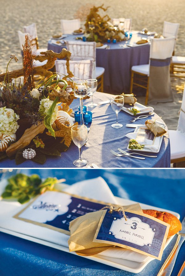 beachy california coastal wedding name cards with bread