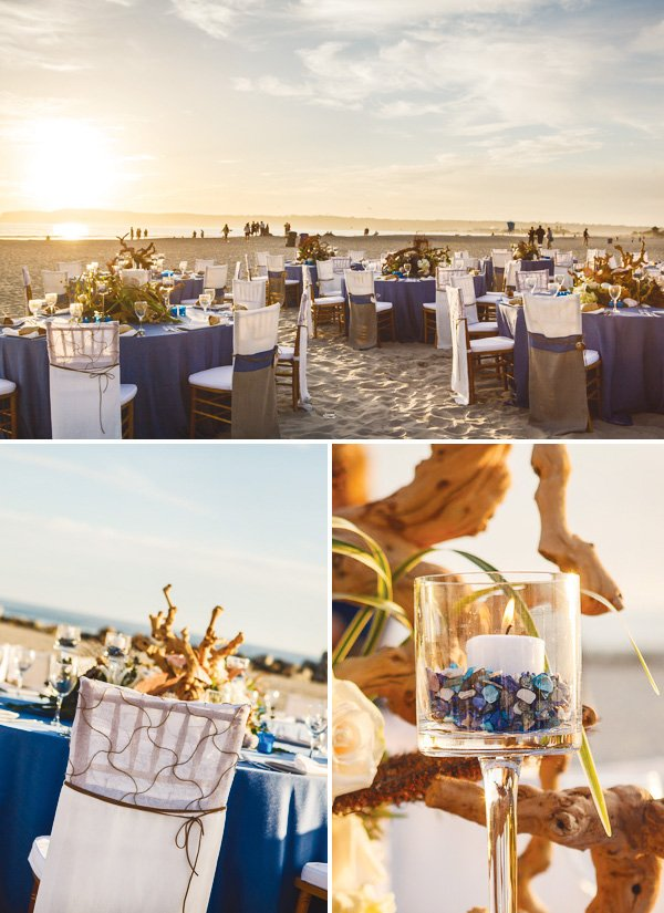 beachy california coastal wedding table arrangement