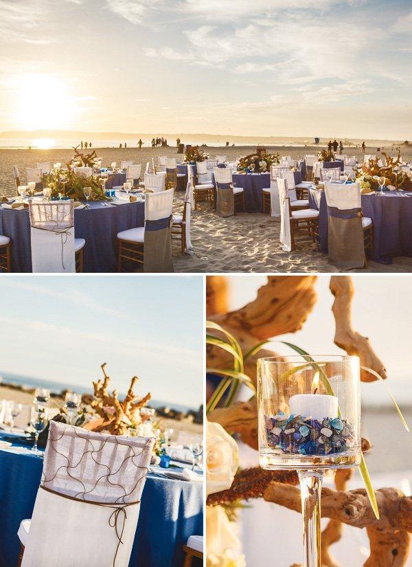 beachy california coastal wedding table arrangement