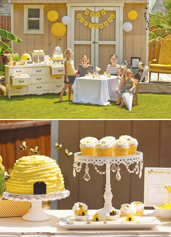 bee tea party with a beehive cake