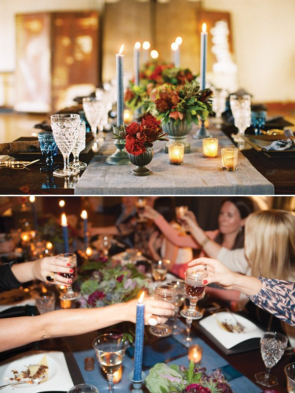 dinner party cheers with wine goblets