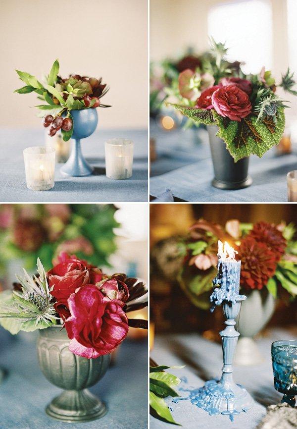 dinner party floral arrangements in matte blue vases