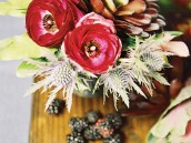 deep and rich still life styled florals with blackberries