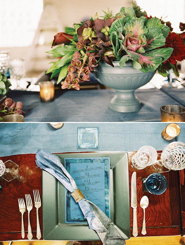 dinner party place setting ideas and greens as centerpieces