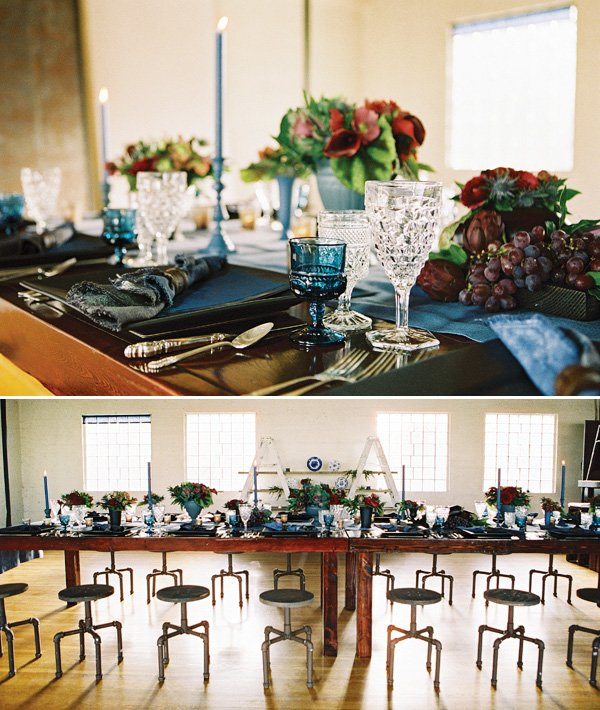 dinner table styling with matte centerpieces and blue and black colors