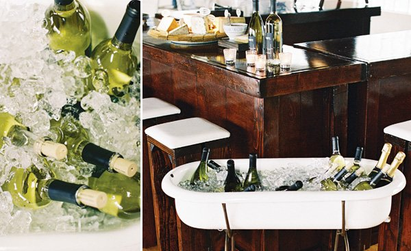 old bistro style chalkboards and wine in baths for a dutch still life themed dinner party