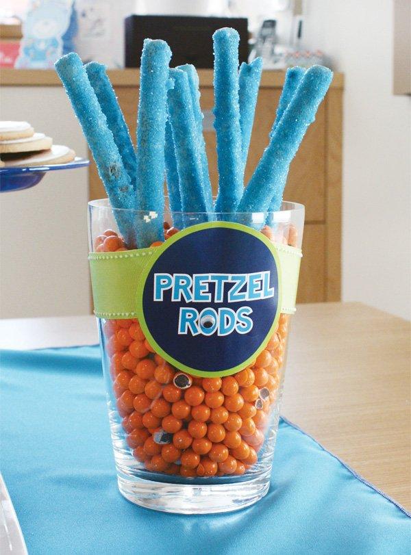 blue pretzel sticks