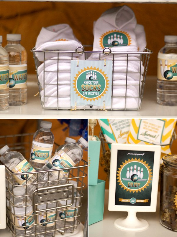 personalized bowling socks and mini water bottle labels