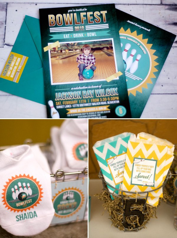 bowlfest bowling invitation and custom socks and chevron favor bags