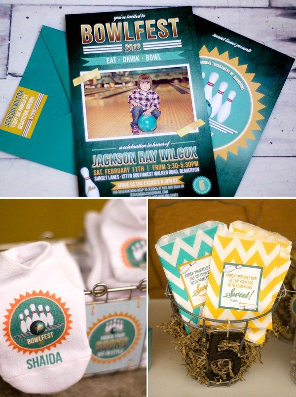bowlfest bowling invitation and custom socks and chevron favor bags