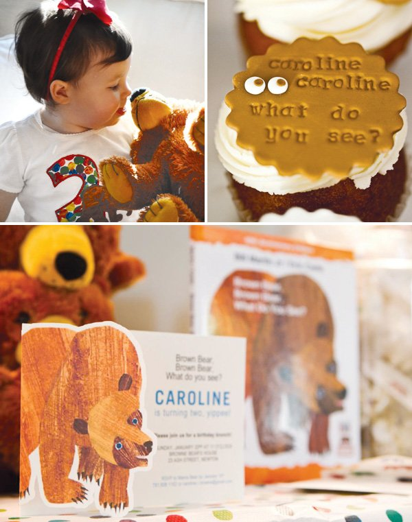 Brown bear themed party invitations