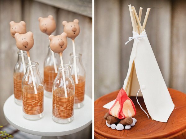 Campfire and teepee cake toppers and bear cake pops