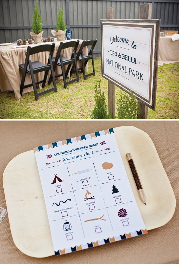 Kids camping party with scavenger hunt printables
