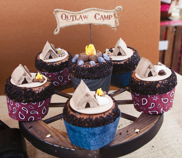 campfire and tent cupcake toppers