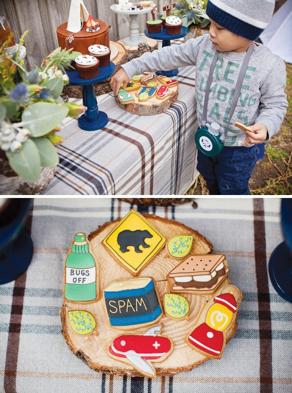 Dessert table with camping inspired cookies