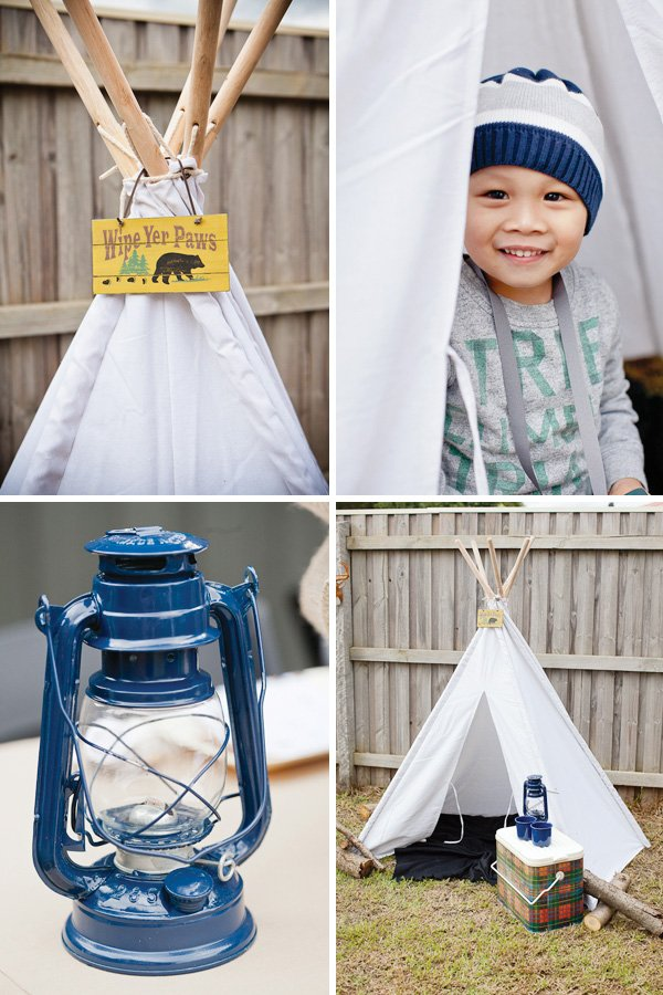 Camping party with a white sheet teepee