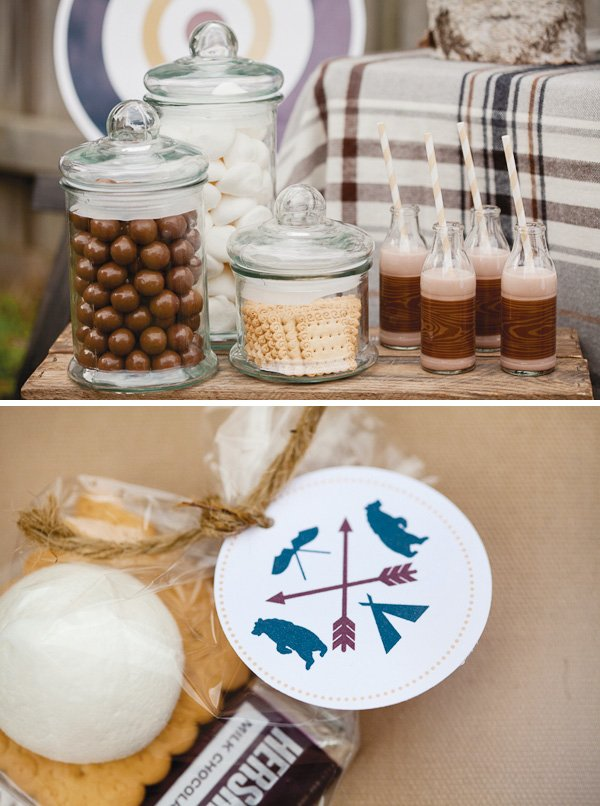 Camping party printables and s'mores party favors