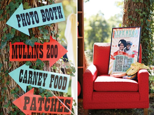 carnival birthday party with outdoor arrow signs