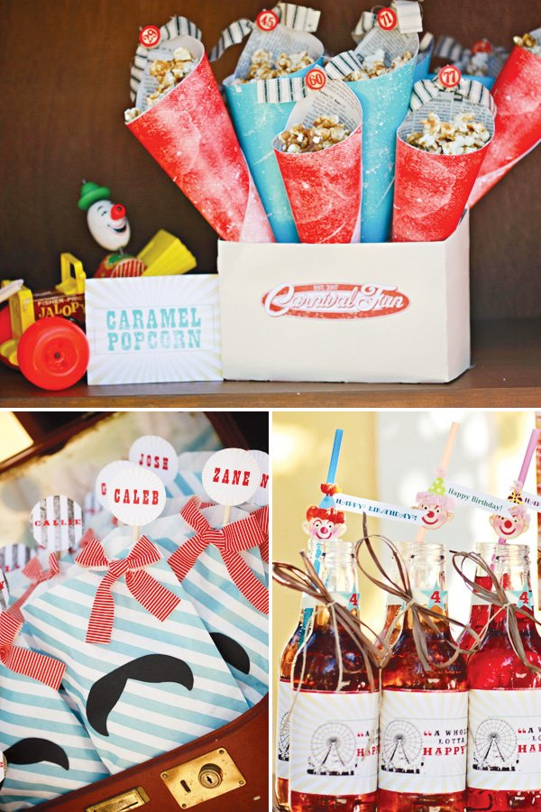 carnival party stripe bags