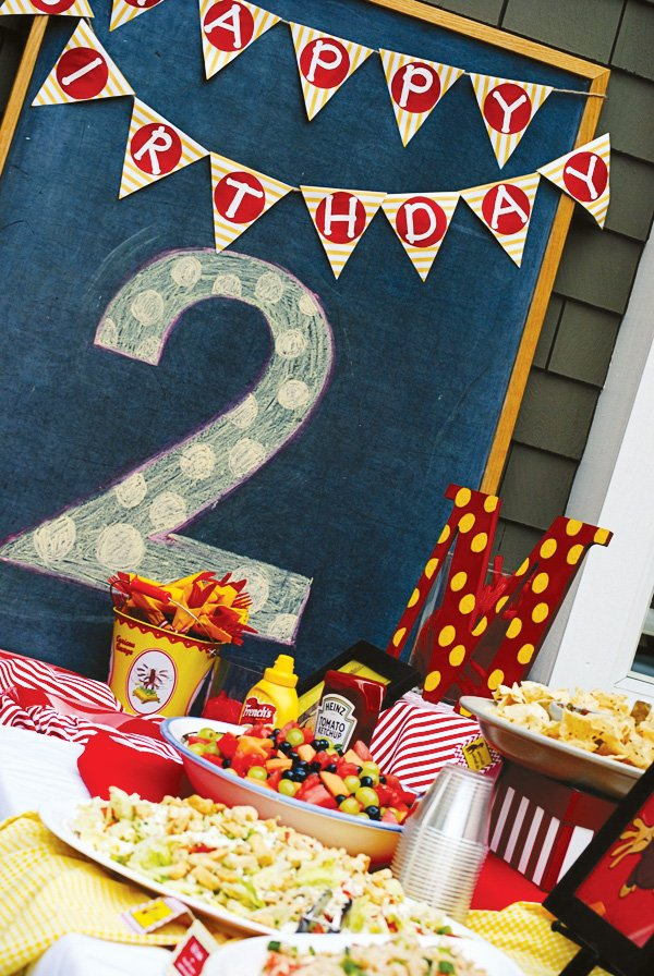 Chalkboard backdrop with bunting